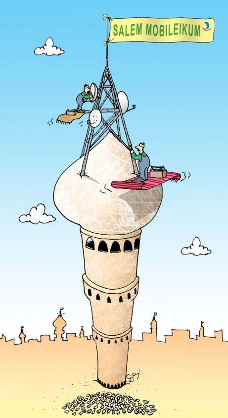 arabowie, telefonia komórkowa, wieża telefoniczna, montaż