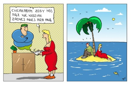 kobieta, dżin, życzenie, bezludna wyspa, mąż