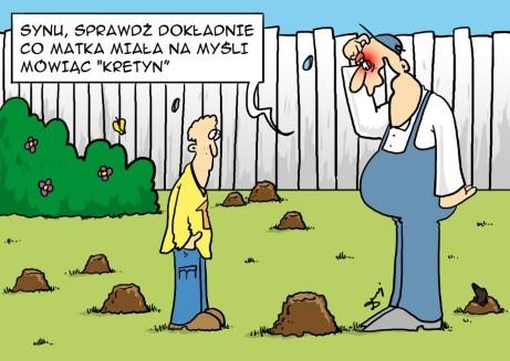 ojciec i syn, kret, podwórko, trawnik, kretyn, matka, głupek