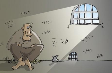 więzien, mysz, samotność, kraty, cela więzienna