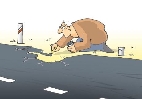 droga, dziury, dziury w drodze, dziurawe drogi, domalowywanie asfaltu, niedoróba