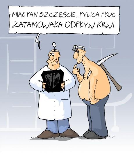 górnik, kilof, wypadek, lekarz, diagnoza, przebite płuca