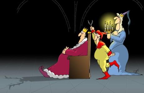 król, błazen, królowa, rogacz, cień, dowcip dworski, na dworze